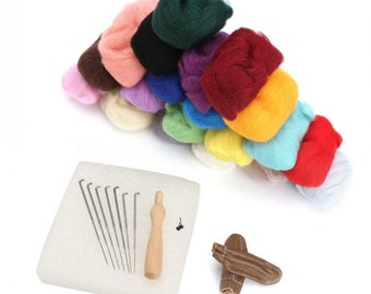 Needle Felting 100g 20 Colors 5g/Color Wool Felt + Needles Tool Set Starter Tool Kit Mat + Needles + Leather Finger Protectors + Accessories