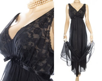 Enticing 1960's vintage double layer soft flimsy sexy black nylon and delicate floral lace detail full length sleeveless nightgown - 4276