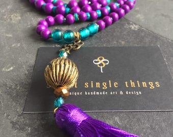 Mala chain, necklace, necklace, tassel necklace, tassel, pendant, yoga, meditation, purple, turquoise, purple, Bohemian, Easter, gift