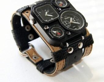 "Mens wrist watch bracelet ""Safari""- Steampunk Watches - SALE - Worldwide Shipping - gifts for him - Leather cuff wrist watch"