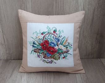 Beige meadow flowers pillow cover, red poppied cross stitch spring cushion, floral poppy accent, red poppy art throw 16 x 16 (40 x 40 cm)