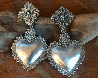 EBH13 The Truchas over The Santa Fe Heart repousse sterling silver southwestern native style earrings
