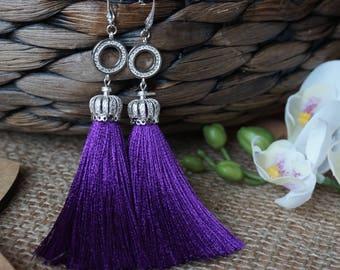 Ultra violet silk tassel earrings Long purple tassel earrings  Long violet silk tassel earrings Ultra violet boho earrings Gift for her