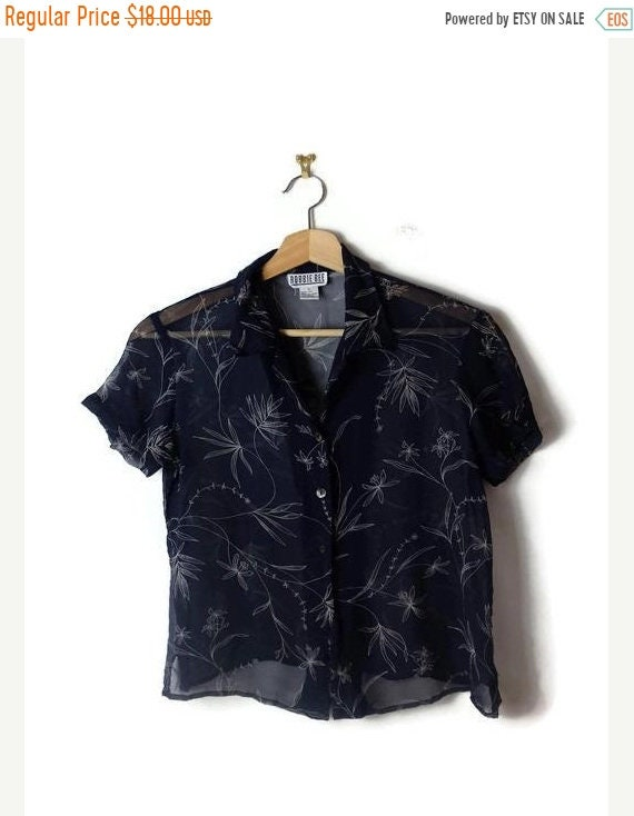 on-sale-vintage-dark-blue_navy-x-floral--sheer-short-sleeve-silk-blouse-from-90s by etsy