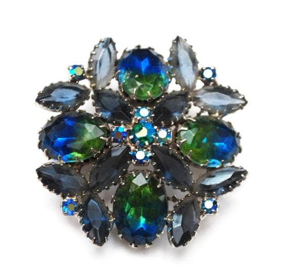 Rhinestone Brooch - Blue Green Givre  - open back Navette stones - flower brooch - Juliana style pin