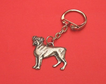 Boxer Dog Pewter Motif Key Ring Fathers Day Gift