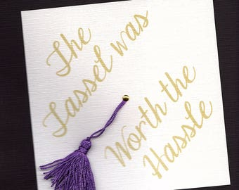 College graduation announcement party invitation 8 sided college graduation invitation or announcement tassel was worth the hassle cap shape purple filmwisefo