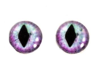 10mm Glass Eyes, Purple and Blue, Glass Eyes, Eye Cabochons, Pastel Cat Eyes, Art Doll Eyes, Jewelry Making, Small, Taxidermy Eyes, Dragon