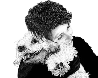 "Portraits, Custom Portraits, human and pet, drawing, gift, art - 8""x10"" print plus a digital JPG & PDF file - Examples here"