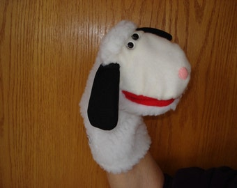 Sheep Lamb hand puppet sherpa fabric movable mouth