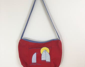 80s De Lanthe Red Sailboat Sunset Canvas Shoulder Bag Purse