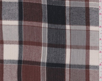 Brown/Black Plaid Gauze, Fabric By The Yard