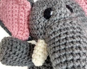 Elephant Stuffed Animal - Gray with pink ears - Perfect Baby Gift - Machine Washable - Crocheted Plush - Safari - Baby Shower Gift - Unisex