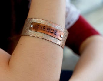 Fierce Hammered Copper Cuff, Inspirational Valentines Day Gift Women, Valentines Gift for Girlfriend, Valentines Gift for Wife