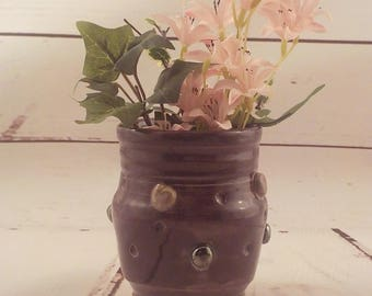 Small Ceramic Vase - Stoneware Spoon Jar - Succulent Pot - Purple with Silvery Palladium Buttons and Gray Swirls - Ready to Ship  v641