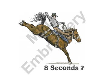 Rodeo - Machine Embroidery Design, Cowboy, Horse, 8 Seconds