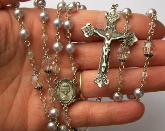 1st Communion Personalized Swarovski Pearl Lavender Rosary , Unbreakable, Catholc, 5 Decade, Custom Order