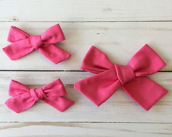 Hot Pink Fabric Bows and Nylon Headband in Large and Small/ Pigtail Clips