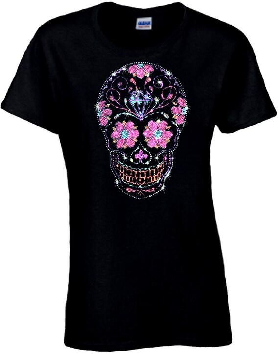 Rhinestone sugar skull shirt pink flowers skull dia de los mightylinksfo