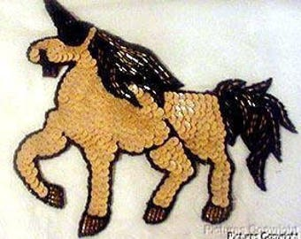 Sequins & Beaded Prancing Unicorn (Medium) Applique