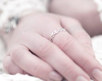 Blättchen Ring 925 Sterling Silber
