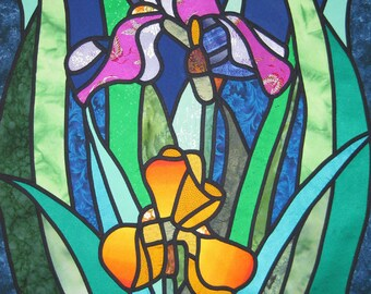 Iris Stain Glass Quilt Pattern