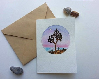 Hand-painted Watercolor Card of Joshua Tree at Sunset