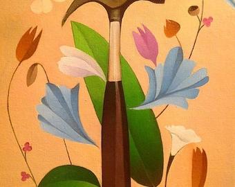 Floral Hammer Painting, Surrealism, Botanical Painting, Botanical Design