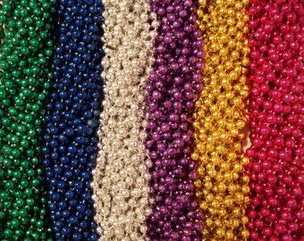 "72 Mardi Gras Beads Necklaces Metallic Round Popular Assortment 7mm 33"" Strands Craft (6 Dozen)"