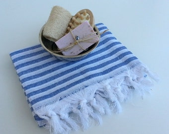 Turkish Towel, Peshtemal, Spa Towel, Handwoven,  Natural Soft Cotton, Beach Towel, Marine Indigo Blue, Sailor, Stripes