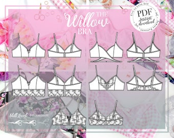 PDF DIGITAL - Bra Sewing Pattern - The Willow Bra - Evie la luve