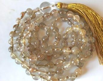 Rutilated Quartz Mala Necklace, 108 Mala Beads, Meditation Mala , Yoga Mala, Buddhist Mala Prayer Beads, Chakra Healing Mala, Japa Mala