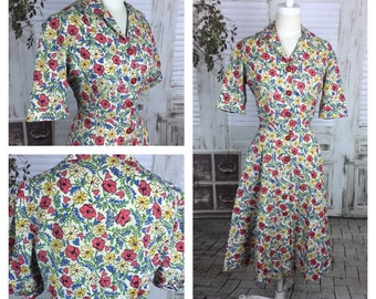Original 1940s Floral Novelty Print Day Dress Poppys Lavender And Daisies