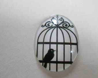 A glass cabochon printed 30 x 40 mm bird motif