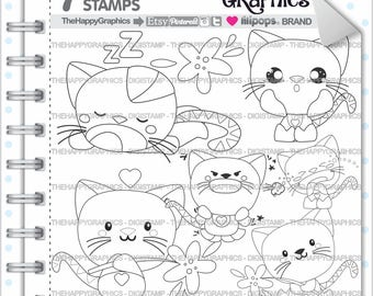 Cat Stamp, 80%OFF, Commercial Use, Digi Stamp, Digital Image, Cat Digistamp, Cat Coloring Page, Autumn Graphic, Animal Stamp, Mood, Feeling