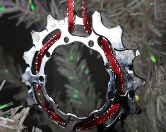Bike Ornament, Unique Bike Ornament, Bike Christmas Ornament, Recycled Bike Holiday Ornament, Gift for Her, Gift for Him, Bike Gear Ornament
