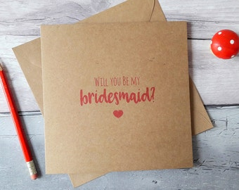 Bridesmaid proposal card, will you be my bridesmaid, maid of honour, chief bridesmaid, matron of honor, rustic Kraft wedding, card for bride
