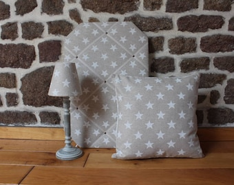 Clarke and Clarke White Stars Set of Soft Furnishings (Lampshade; French Memo Board; Cushion) - home decor