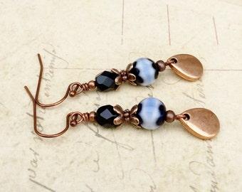 Black Earrings, Blue Earrings, Black and Blue Earrings, Copper Earrings,Black Copper Earrings, Millefiori Earrings, Czech Glass Beads, Gifts