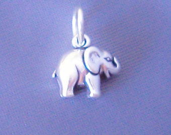 1 Sterling Silver Small Tiny Elephant Charm, Mini