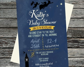 Vintage Peter Pan Baby Shower invite, Neverland, Second Star to the Right, straight on till morning digital file, optional Book Insert