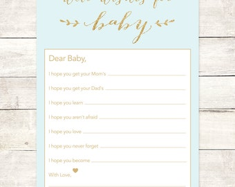 wishes for baby boy shower printable DIY blue gold glitter baby boy well wishes for baby shower games - INSTANT DOWNLOAD