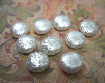 Czech White Coin Pearl Beads - 10MM - B-6651