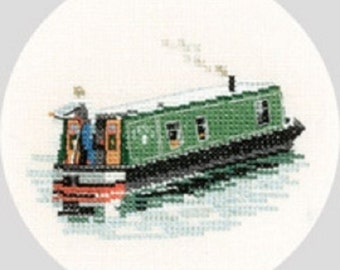 Modern Narrowboat Cross Stitch Kit from Heritage Crafts from Inland Waterways of Britain range , Counted Cross Stitch, Cross stitch kit,