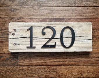Driftwood House Number (3 numbers or less) Reclaimed Wood Beach House Decor