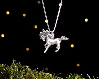 Sterling Silver Horse - 3D Double Sided - (Pendant or Necklace)