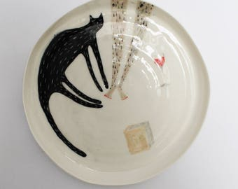 Me, myself & I - porcelain plate with cat, glass of wine and hairy girls legs ;-)