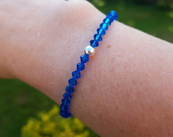 Blue Swarovski crystal stretch bracelet Sterling Silver or 14K Gold fill