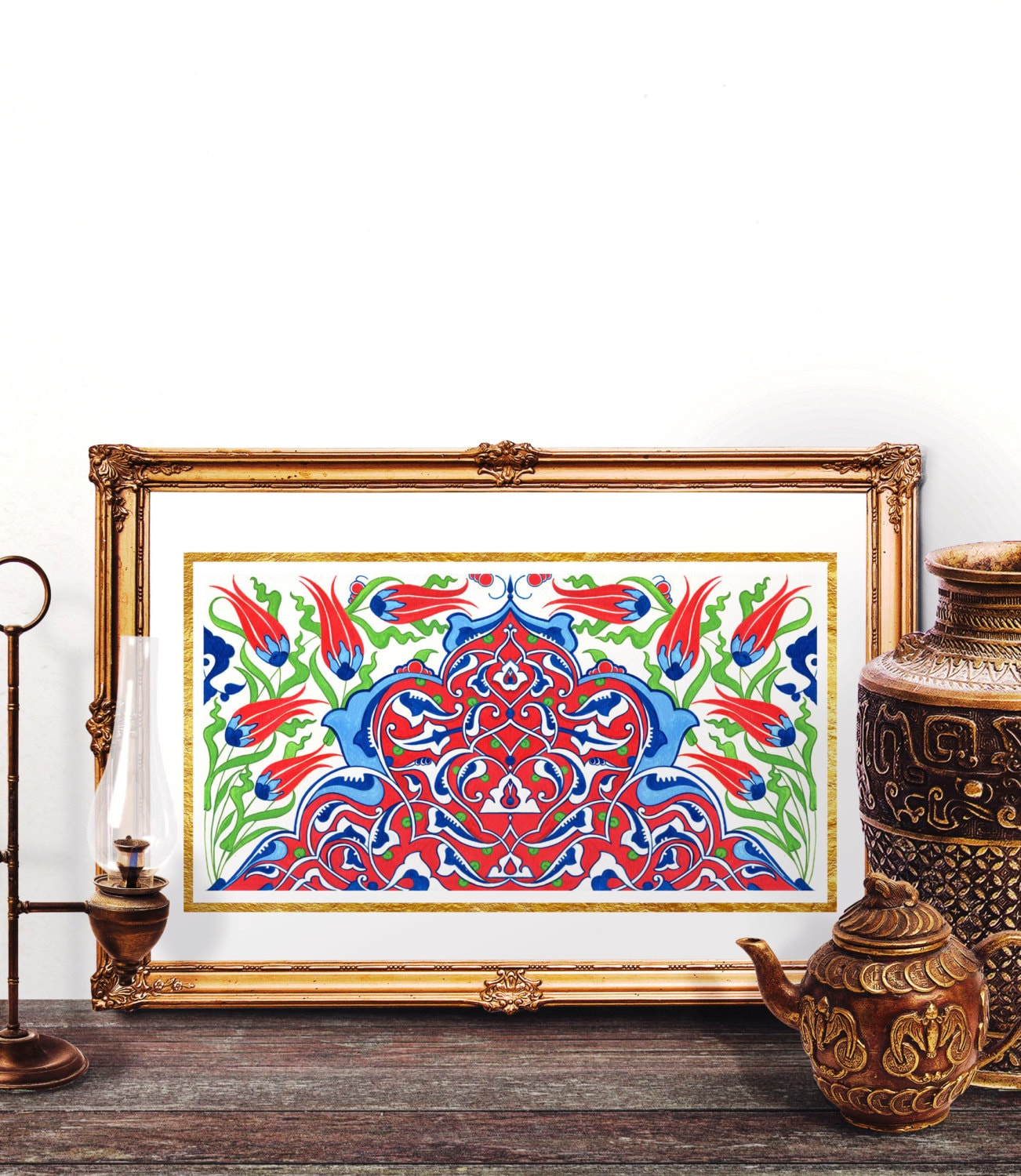 Traditional Ottoman Tulip Watercolor Wall Art Turkish Floral: Ottoman Red Tulip Watercolor Art Traditional Turkish Red