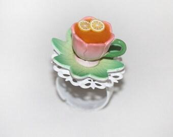 Tea Party Ring - Cup of Tea Ring  - Fairy Tale Ring - Lemon Tea Ring - Kawaii Ring